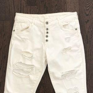 Denim - White Ripped Skinny Jeans